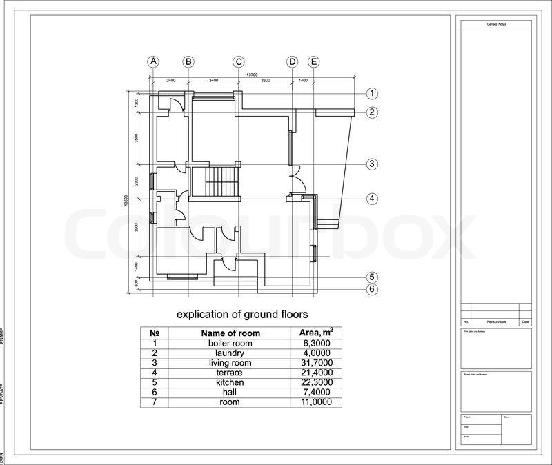 Konstruktionszeichnung eines Hauses. | Vektorgrafik | Colourbox