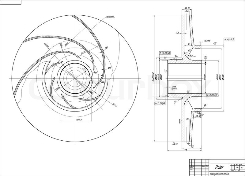 Machine Building Drawing Rotor Vector Illustration