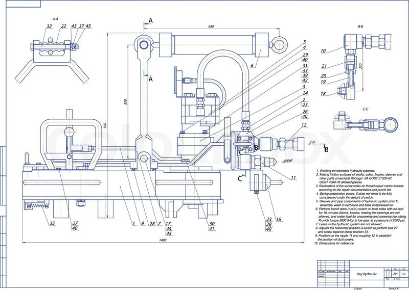 Machine Building Drawing Key Hydraulic Vector