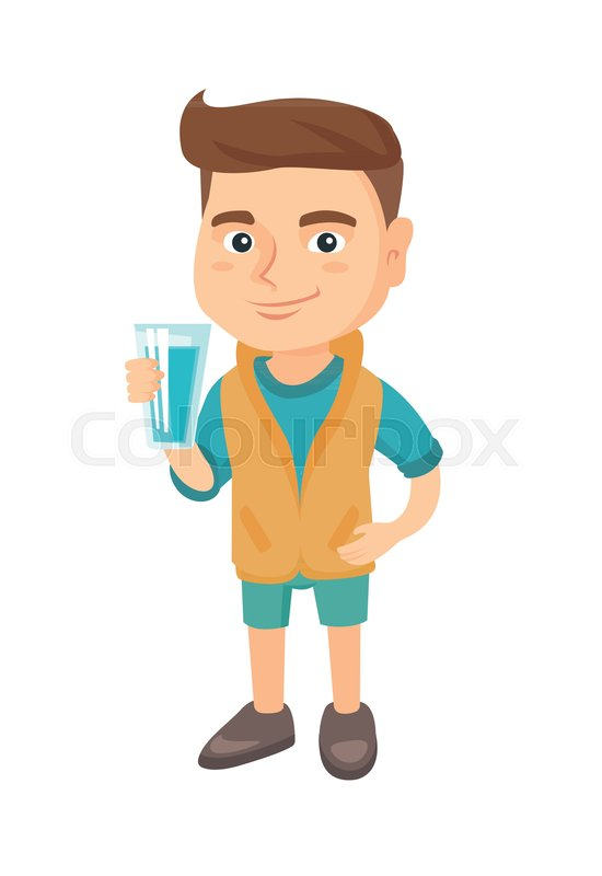 little caucasian boy holding a glass of water in his hand. smiling