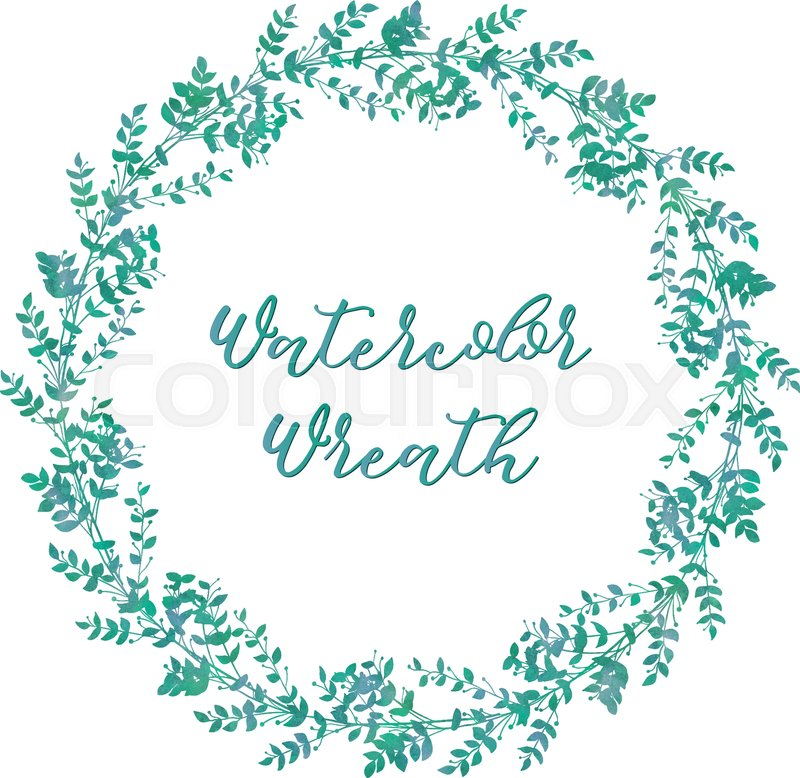Drawn Watercolor Greenery Wreath Vector Illustration Drawing Isolated Clip Art Hand Image Branches Leaves
