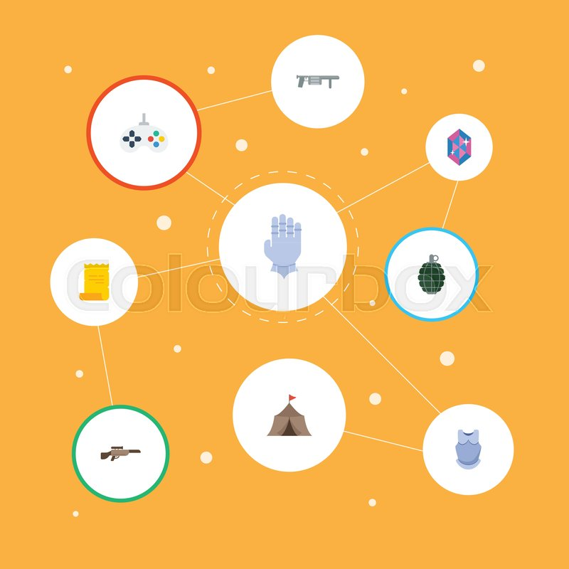 Flat Icons Gem Bulletproof Parchment And Other Vector Elements