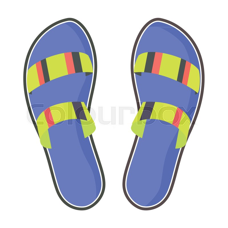 47b5c0e9560 Striped summer flip-flops with blue ...