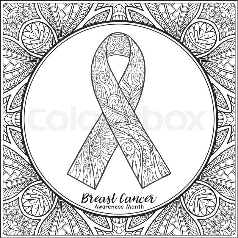 Breast cancer awareness month decorative pink ribbon on decorative ...