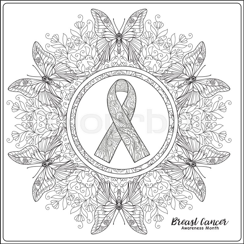 Breast Cancer Awareness Month Decorative Pink Ribbon On Mandala Background Anti Stress Coloring Book For Adult And