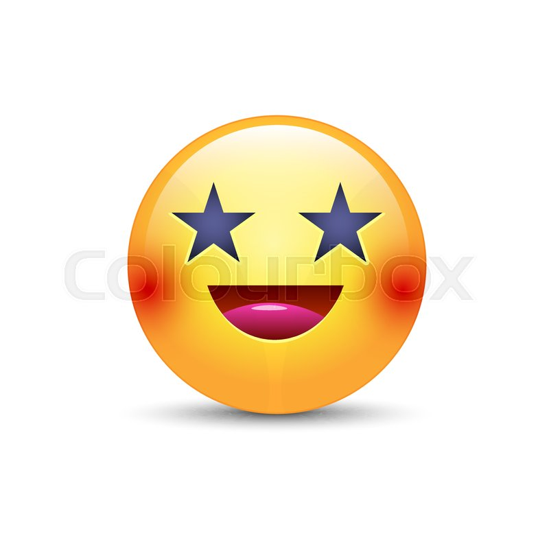 Happy laughing emoji face with eyes in the form of stars fun happy laughing emoji face with eyes in the form of stars fun cartoon vector emoticon with smile cute yellow smiley for application and chat vector sciox Gallery