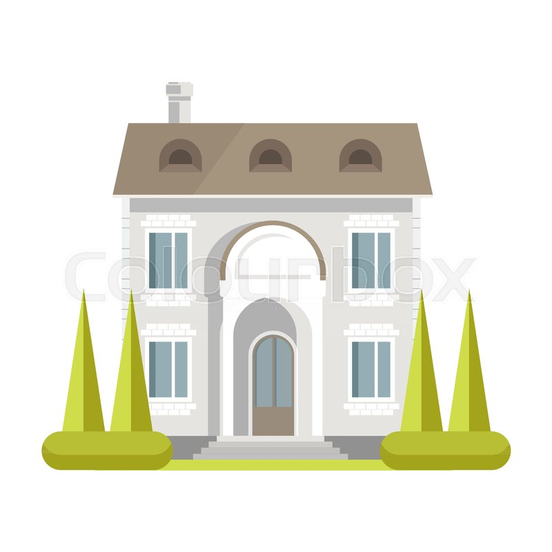 Facade Of Rich Two Storey Brick House With Neat Lawn Tall Spruces Large Windows Spacious Entrance Small Stairs And Chimney Pipe Isolated Cartoon Flat