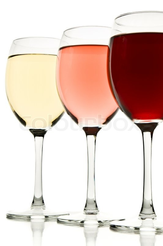 Three Glasses With White Rose And Red Wine Stock Photo