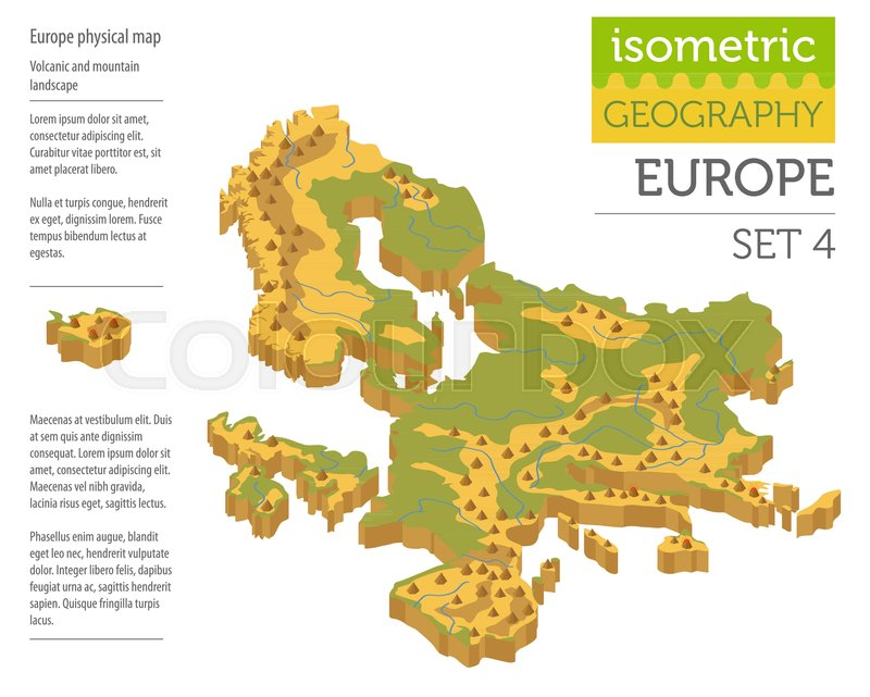 isometric 3d europe physical map constructor elements isolated on white build your own geography infographics collection