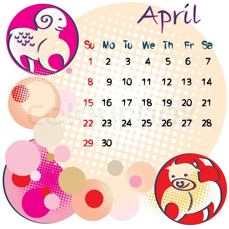 Zodiac Calendar April : Calendar april with zodiac signs and united states