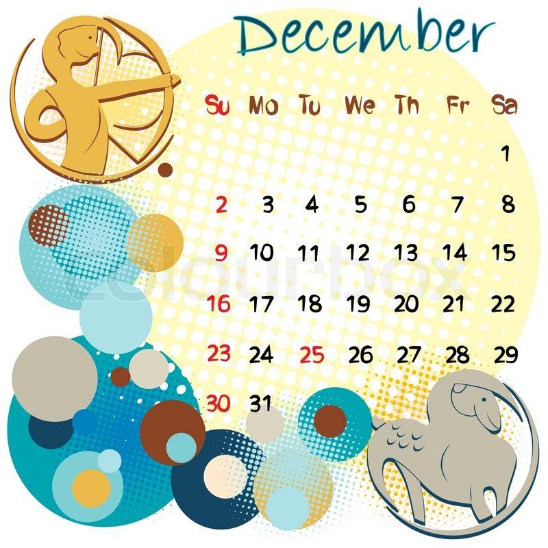 2012 kalender dezember mit sternzeichen und den. Black Bedroom Furniture Sets. Home Design Ideas
