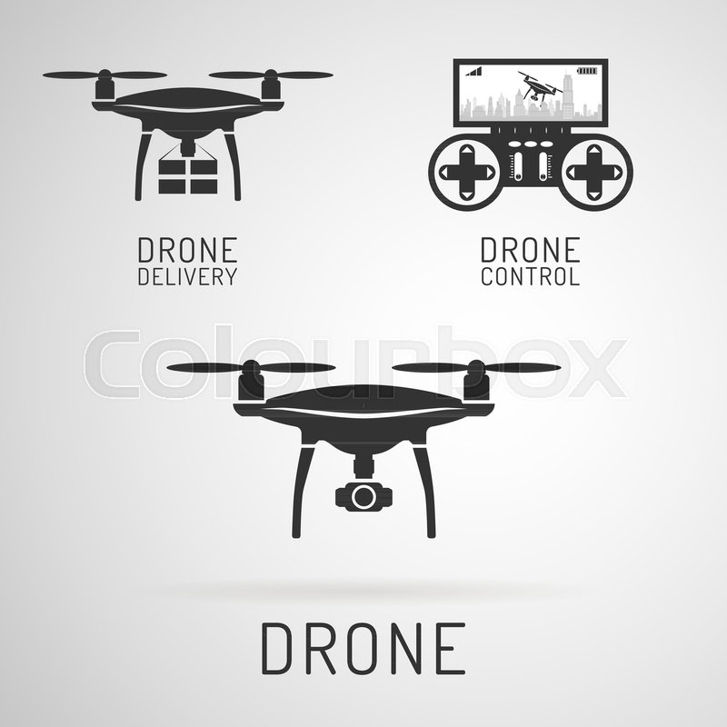 Drone Icon Aerial With A Camera Photographing Or Video Recording Delivering Cargo Control Panel For Drones