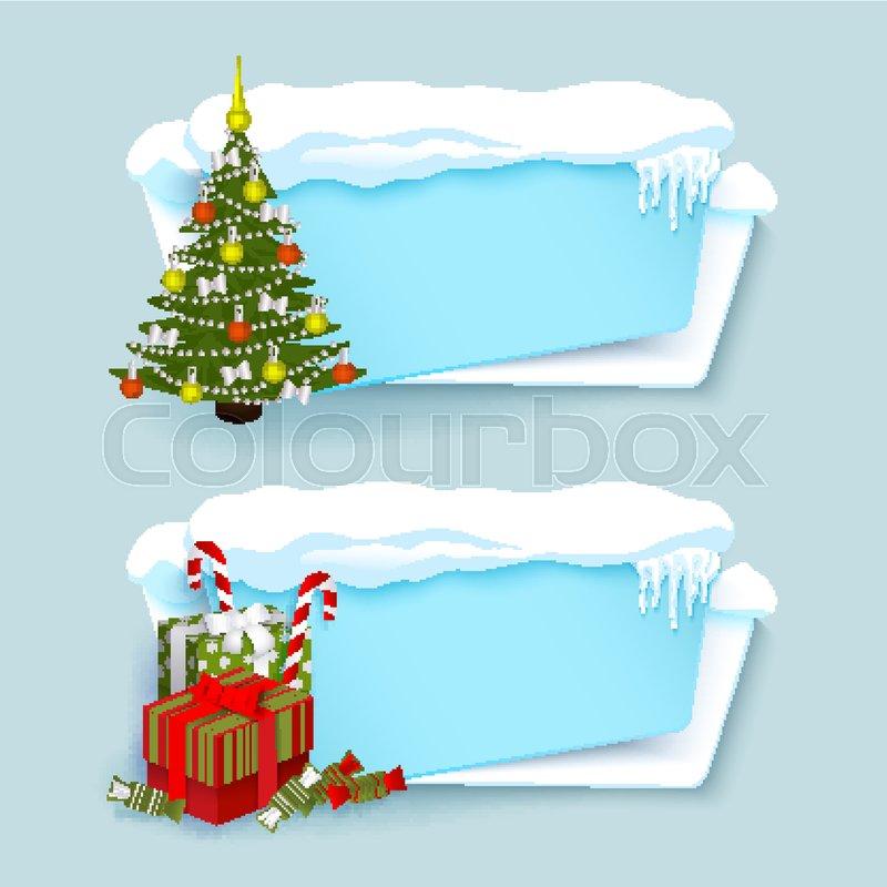Vector Cartoon White Blue Winter Empty Banner Templates Wit Snow