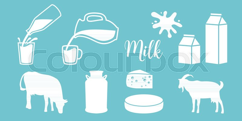 Cow Silhouette, Diary, Cheese, Goat, Milk Can, Bottle, Jar