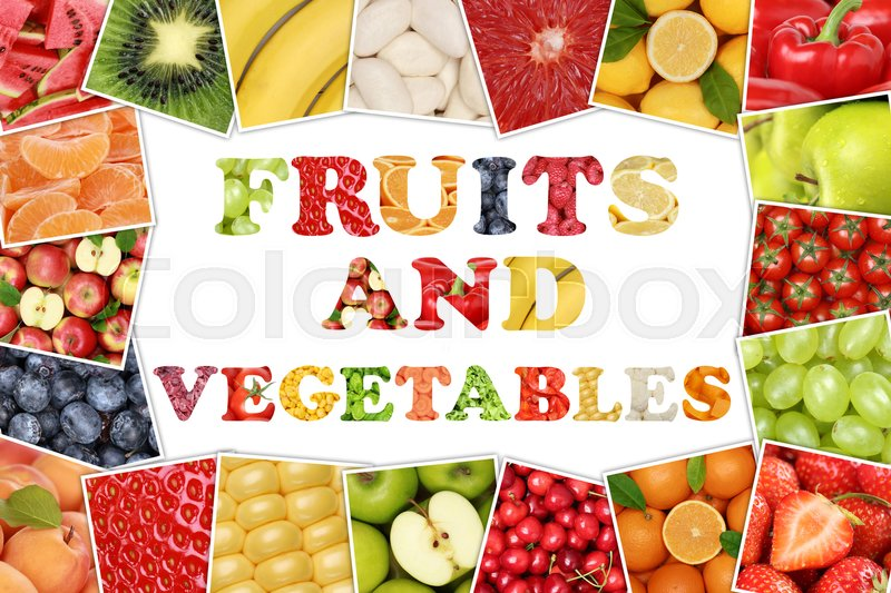 Frame word fruits and vegetables with apple, orange, tomatoes, lemon, banana and strawberry, stock photo