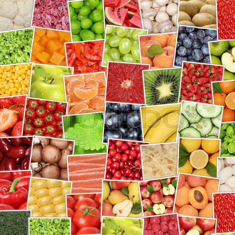 Fruits and vegetables background with tomatoes, lemons, apples, oranges, stock photo