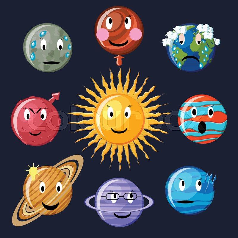 Solar System Emoticon Set Cute Cartoon Planets Mercury