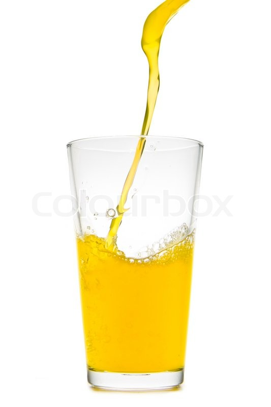 Stock image of 'Orange juice pouring into glass on white background'