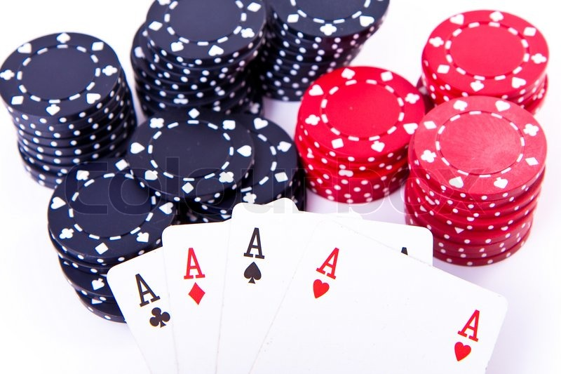 Playing cards and poker chips on white background | Stock ...