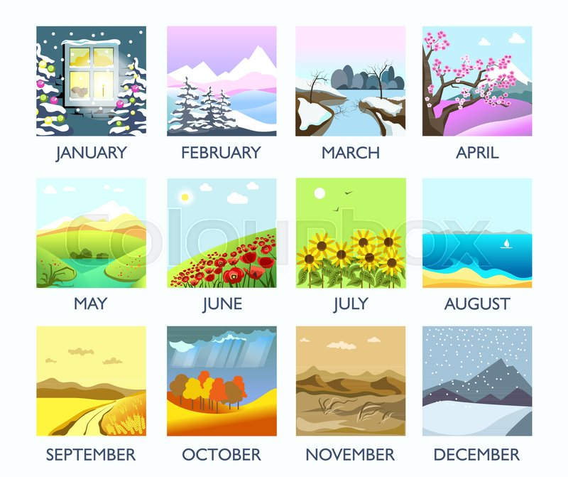 Four seasons nature landscape by month winter, summer, autumn and spring weather. Vector flat monthly mountain forest in snow, blooming flower and tree on field, leaf fall and rain, summer ocean beach, vector