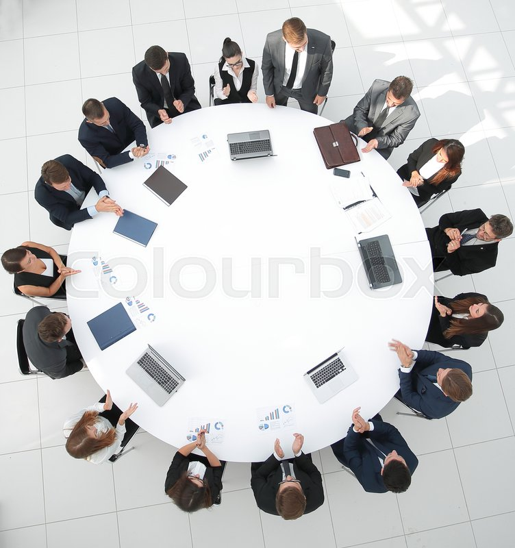 View from the top.meeting business partners for round - table.photo with copy space, stock photo
