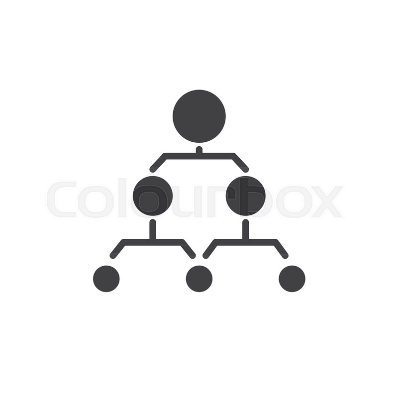 hierarchical structure icon vector  filled flat sign  solid pictogram isolated on white