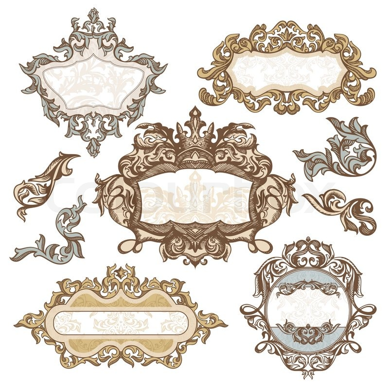 Set of royal vintage frames vector illustration | Stock Vector ...
