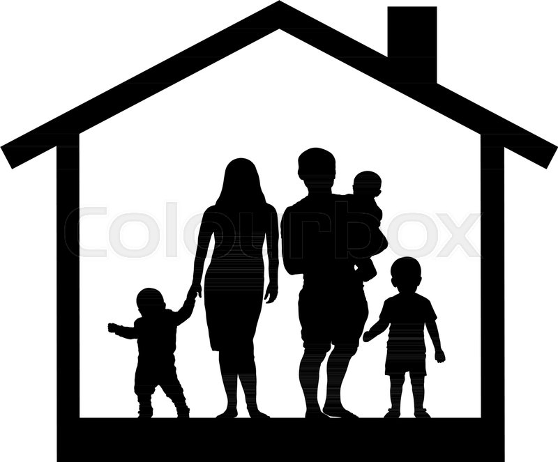 large family house silhouette stock vector colourbox