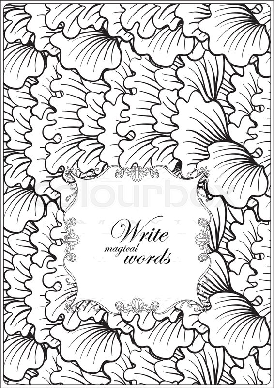 A4 Format Blank With Decorative Pattern And Frame Space For Text Vector Illustration Stock Anti Stress Coloring Book