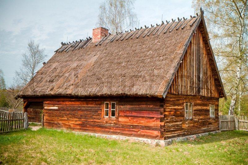 Old wooden house, Poland, Kashuby, Wdzydze, stock photo