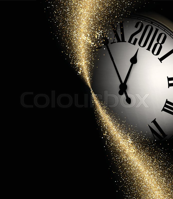 black shining 2018 new year background with clock vector illustration stock vector colourbox