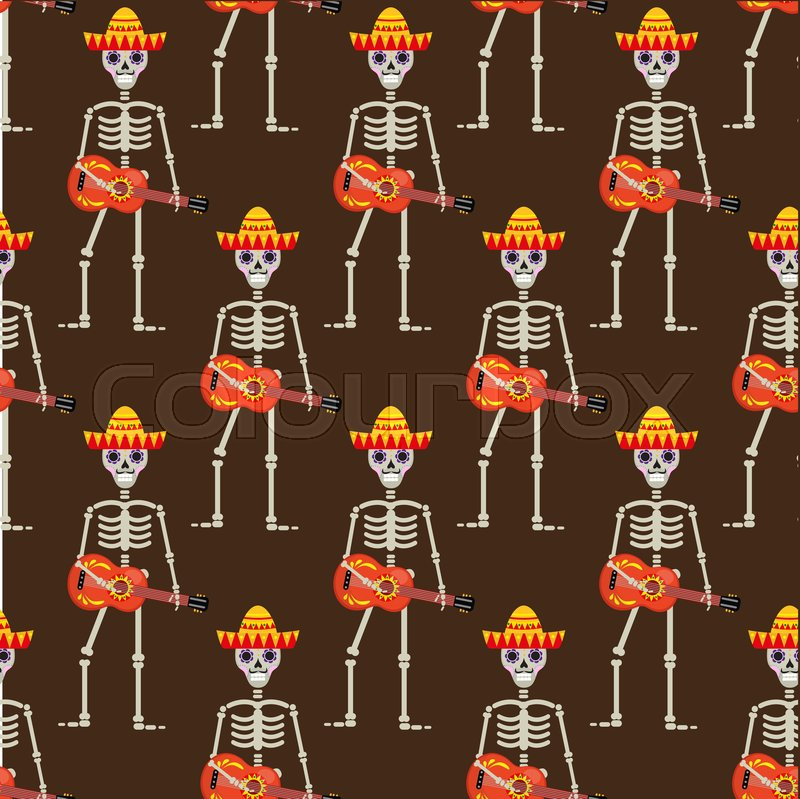 ffa15f2cebb Skeleton in sambrero guitar seamless ...   Stock vector   Colourbox
