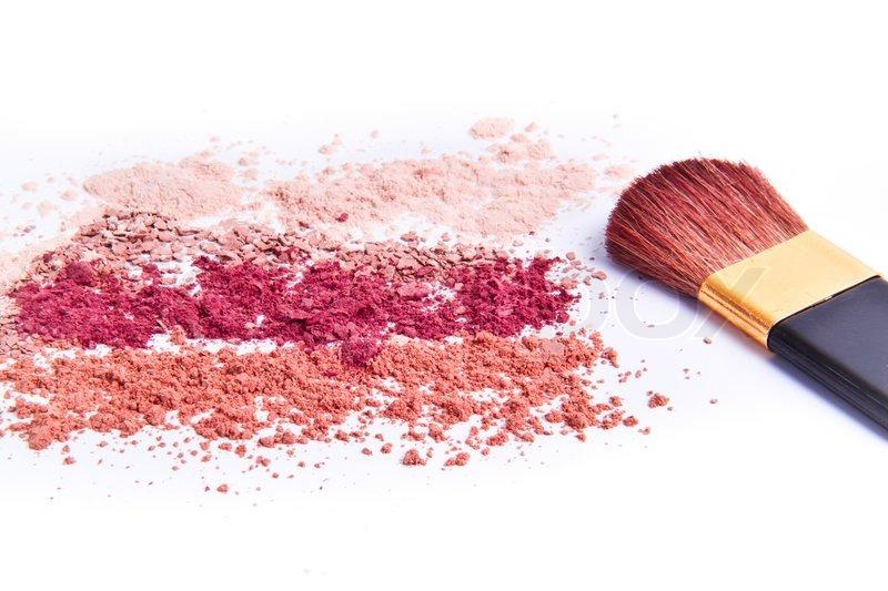 Stock image of 'Makeup powder with brush white background'
