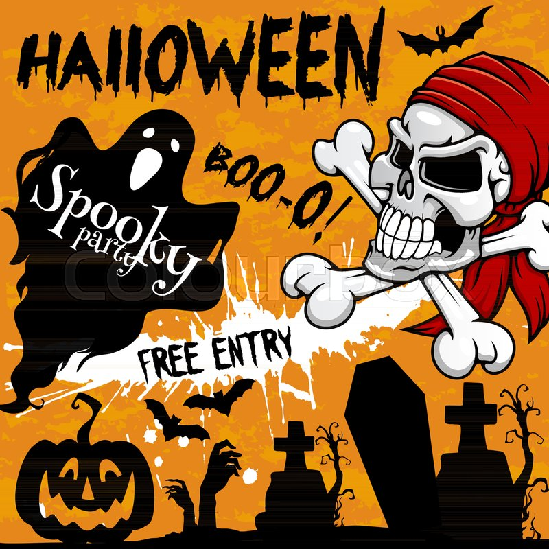 Halloween holiday party invitation poster or greeting card and flyer ...