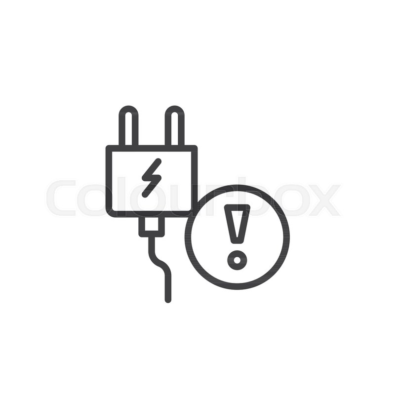 electrical plug flat simple line icon stock vector royalty