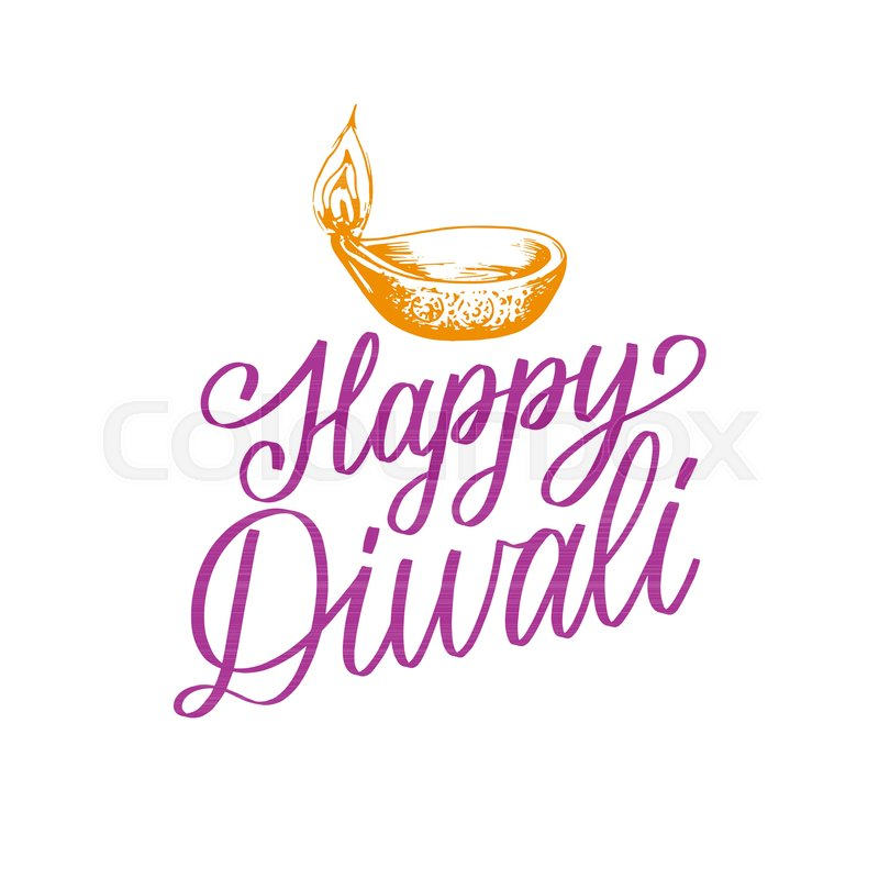 Diwali festival poster with hand lettering vector lamp illustration diwali festival poster with hand lettering vector lamp illustration for indian holiday greeting or invitation card vector stopboris Image collections