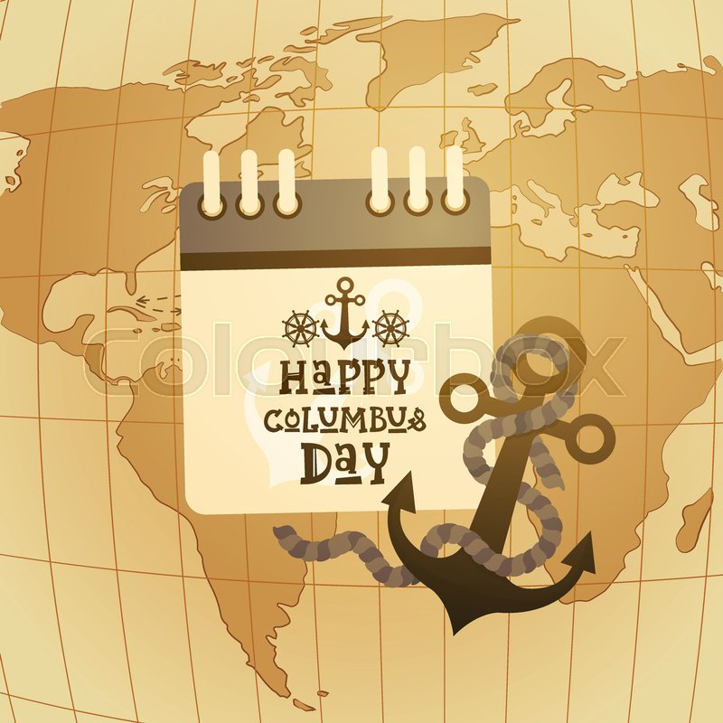 Happy columbus day america discover holiday poster greeting card happy columbus day america discover holiday poster greeting card retro world map flat vector illustration stock vector colourbox gumiabroncs Gallery