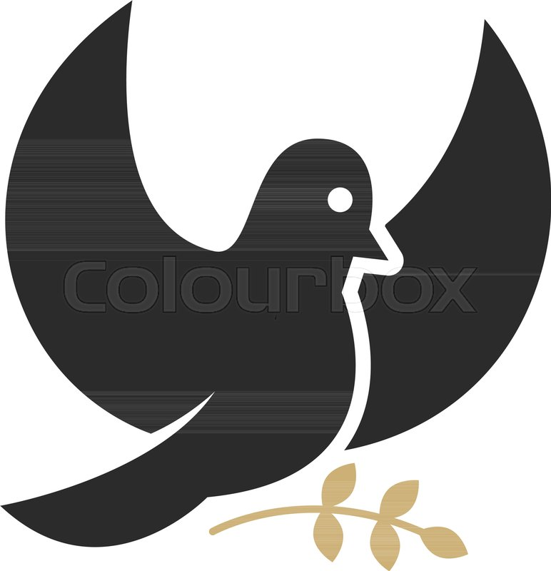 Dove With Olive Branch Religious Symbol Design Element For Logo
