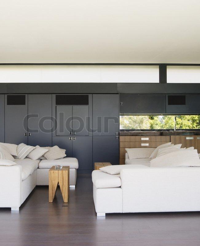 Moderne Wohnzimmer Mit Bar Können Als Hintergrund Verwendet Werden,  Stock Foto