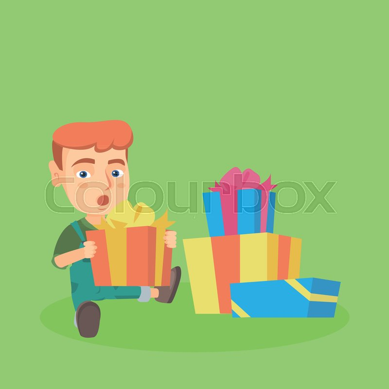 Little caucasian baby boy opening birthday or christmas gift box surprised baby boy with open mouth sitting on the floor with many presents in gift boxes vector cartoon illustration square layout vector negle Choice Image