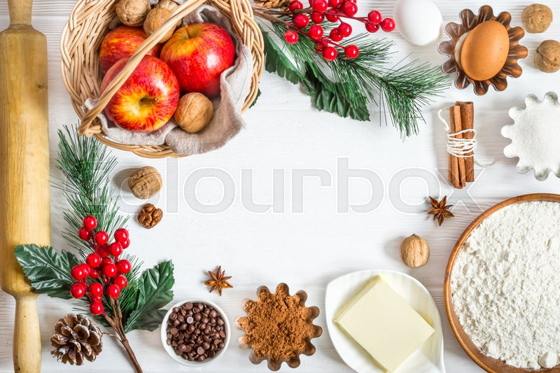 Ingredients for winter New Year\'s baking. Christmas food background, stock photo