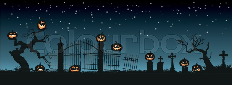 Holiday Halloween. Black silhouettes of pumpkins on the cemetery on night sky background. Graveyard and broken trees. Vector illustration, vector