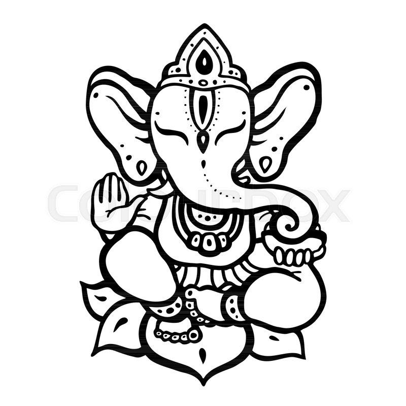 Line Art Hindu Gods : Indian elephant god black and white pixshark