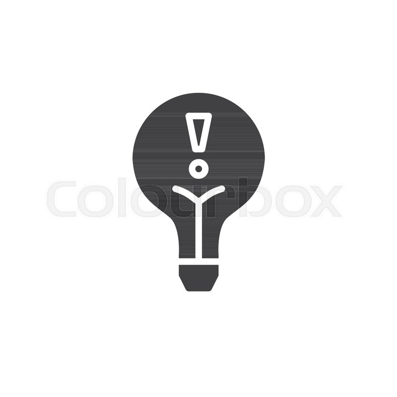 Light bulb alert icon vector, filled flat sign, solid pictogram ...