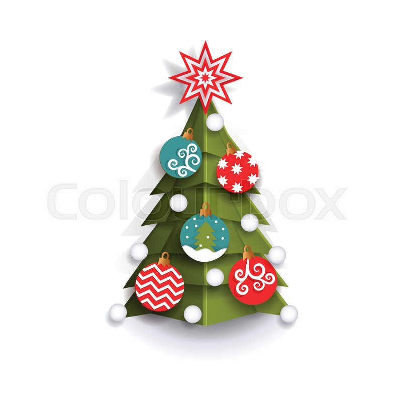 christmas tree decoration element for xmas greeting cards flat style vector illustration isolated on white background 3d paper cutout design