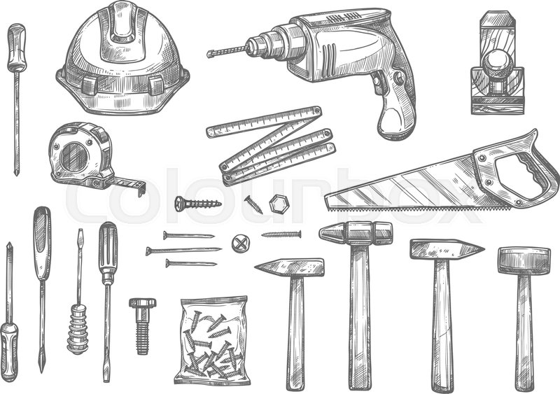 Repair Carpentry And Woodwork Work Tools Sketch Icons Set Vector Isolated Safety Helmet Electric Drill Or Saw Tape Measure Ruler Plastering