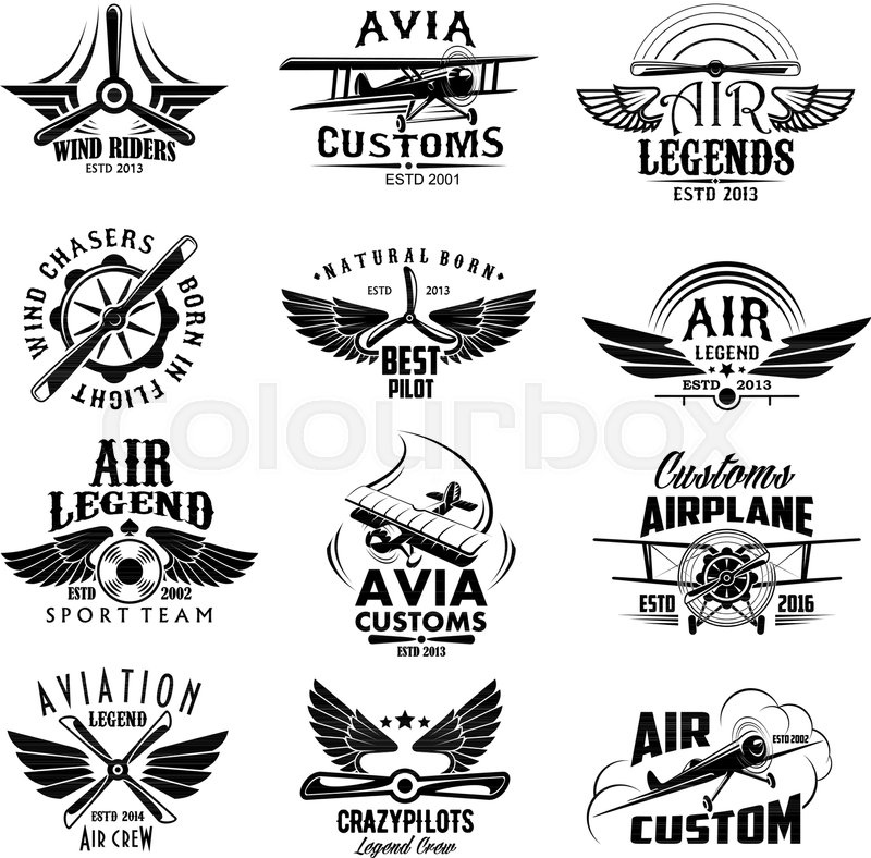 Avia Customs And Retro Aviation Symbols Of Airplane Propeller And