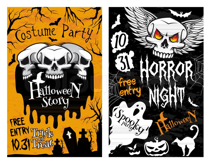 Happy Halloween Horror Night Party Invitation Poster Design Of Skeleton  Zombie Skull And Pumpkin. Vector October Trick Or Treat Night Flyer Of  Spooky Ghost, ...