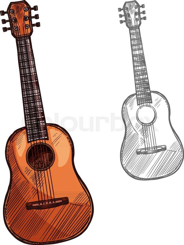 Guitar String Musical Instrument Vector Sketch Symbol Of Folk Or