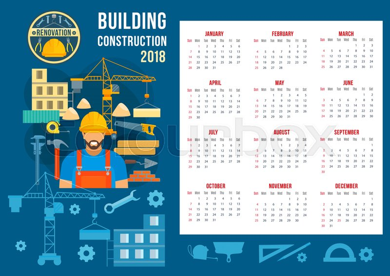 house construction and home building 2018 calendar template vector